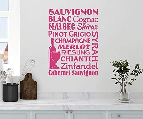 with Quotes Wine Name Collage Sauvignon Blanc Cognac Malbec Shiraz Pinot Grigio Champagne Merlot Riesling Chianti Zinfandel Cabernet Kitchen Removable Wall Decals Decor Vinyl Sticker Q4807