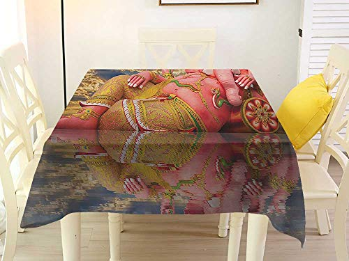 L'sWOW Square Tablecloth with Umbrella Hole Elephant Giant Chubby Statue of Asian Elephant Figure on Beach Thailand Sunset Sky Wisdom Pink Blue Tablecloth 36 x 36 Inch