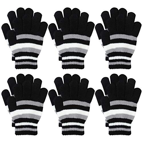 Price comparison product image Coobey 6 Pairs Children Warm Stretch Gloves Winter Knitted Stripe Magic Gloves for Boys or Girls (6-12 Years, Black)