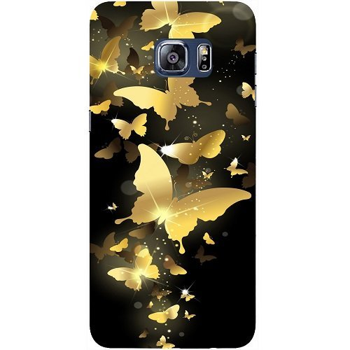 Casotec Golden Butterfly Pattern Design Hard Back Case Cover for Samsung Galaxy S6 Edge Plus