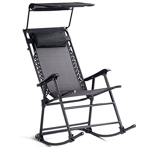 Goplus Folding Zero Gravity Lounge Chair Wide Recliner for Outdoor Beach Patio Pool w/Shade Canopy (Black Rocking Chair) For Sale