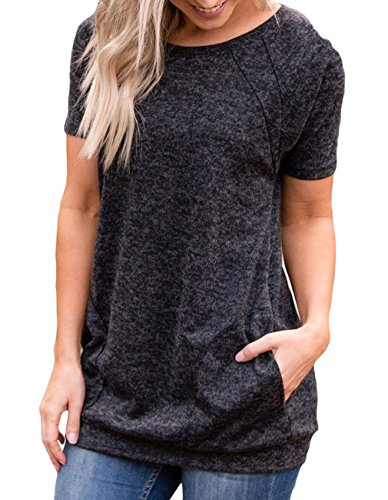 Womens Summer Short Sleeve Round Neck Quick Dry Cool Tunic Tops Loose Gym Workout T-Shirt with Pockets (Black,S) - Gym T-shirt Workout