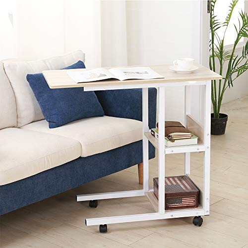 """SHUHOME Mobile Snack Table 31.5"""" Sofa Side Table for Coffee or Laptop with Metal Frame and Casters Modern (White Maple)"""