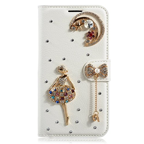 HYAIT[Card Slot] [Kickstand] 3D Bling Crystal Handmade Diamond Leather Wallet Magnet Flip Folio Case for Sony Xperia Z1 L39h -Bow