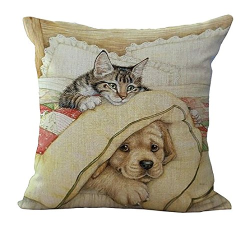 ME COO Playing Golden Retriever dogs and cats sleeping hang birthday hug pillowcase plane printing room the living room couch decorative cushion covers pillow covers 18 x 18Inches 1pcs