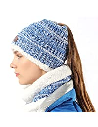 FLY HAWK Women Girl Hat Scarf Set Knit High Ponytail Beanie Warm Liner Skull Cap