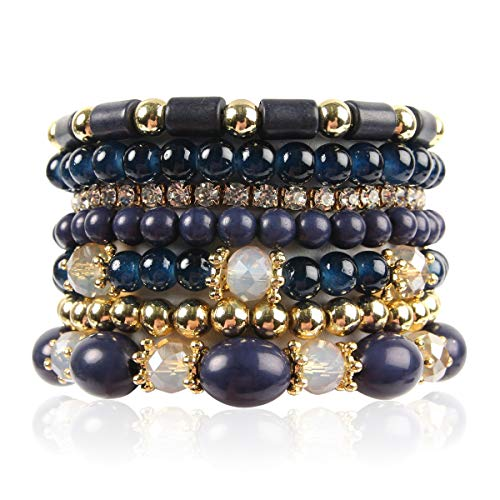 RIAH FASHION Multi Layer Bead Bracelet - Colorful Stacking Beaded Strand Stretch Cuff Statement Bangles Set (Navy)