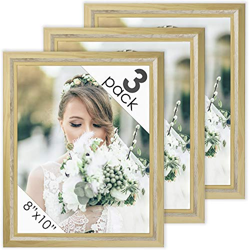 (DecorRack Picture Frame 8x10 inches, Rustic Decor Photo Frame for Document, Certificate, Baby, Family, Cat and Dog Prints, Wall or Desk Photo Display in Maple Beige Wood Design (1 Pack))