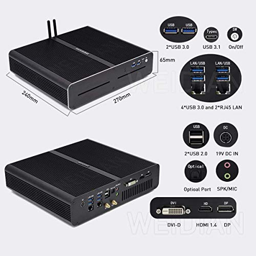 Mini Gaming Computer with Windows 10,Mini PC Desktop Computer Intel Core I7 7920HQ,GeForce GTX 1650 4GB, 16GB RAM DDR4, 512G NVME SSD, HDMI DP DVI-D 2 LAN Optical Type-C USB3.1 WI-FI 6