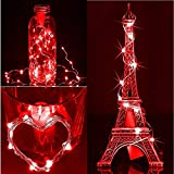H+K+L 6PC 2M 20LED Solar Cork Wine Bottle Stopper String Lights, Copper Wire Decorate Lights for Indoor and Outdoor Garden Party Halloween (Red)