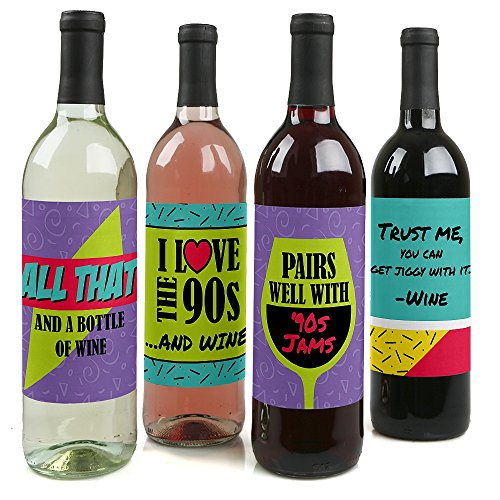 90's Throwback - 1990s Wine Party Decorations for Women and Men - Bottle Label Stickers - Set of -