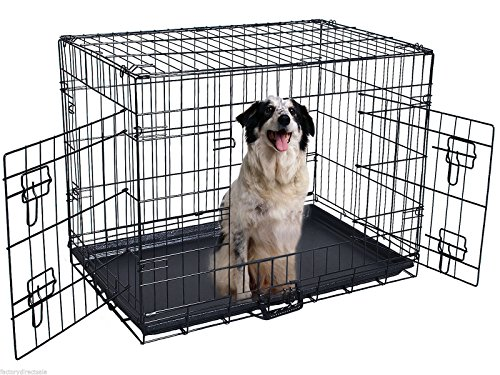42' Tent (New 42'' 2 Doors Wire Folding Pet Crate Dog Cat Cage Suitcase Kennel Playpen w/ Tray)