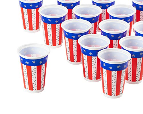Plastic Party Cups - 100-Count American Flag Party Disposable Plastic Cups, Patriotic Party Supplies for America-Themed Parties, Red, White, and Blue, (Carnival Glass Cup)