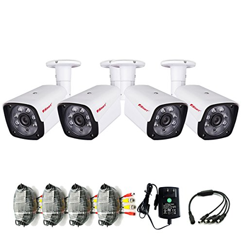 iSmart 4-Packs 1200TVL 720P AHD Bullet Outdoor Camera 3.6mm IR-Lens CCTV Security System C1069AH2x4 White