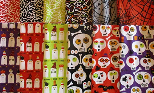 Boneheads by Ellen Crimi-Trent from Clothworks 12 Fat Quarters Cotton Quilt Halloween Fabric Skeletons & Ghosts -