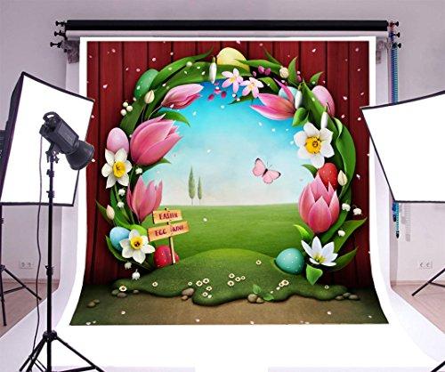 Laeacco 6x6ft Vinyl Backdrop Easter Egg Hunt Photography Background Festive Greeting Card Easter Egg Floral Wreath Garden Fairytale Flowers Butterflies Baby Girls Child Portrait Background Studio Prop (Wreath Flat Card)