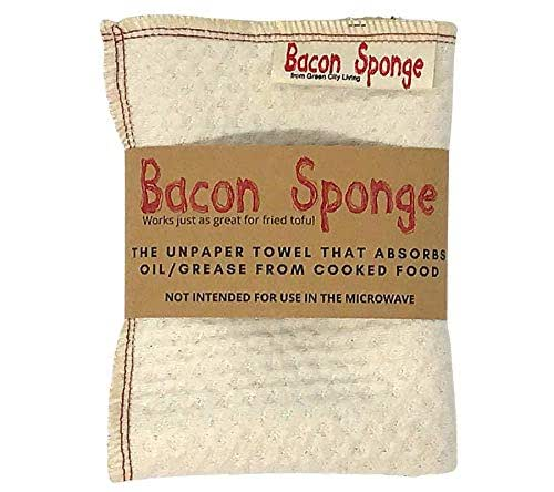 Best  Bacon Sponge Unpaper Towel Zero Waste Waffle Cotton Cloth Towel-Green Kitchen 12x12 Reusable Greasy food Towel