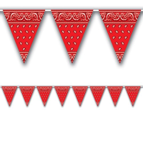 [Bandana Pennant Banner Party Accessory (1 count) (1/Pkg)] (Halloween Costumes With Red Bandana)