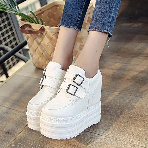 Cybling Moda Slip On Casual Zapatos De Cuña Para Mujeres High Top Hidden Heels Platform Sneakers Blanco