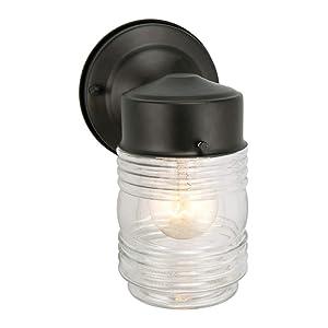 Design House 502195 Jelly Jar 1 Light Indoor/Outdoor Wall Light, Black