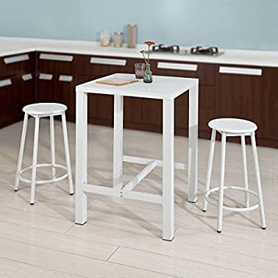 SoBuy® ogt12-w, barra Set – 1 mesa y 2 taburetes de bar, barra de casa cocina jardín al aire libre muebles de comedor Set: Amazon.es: Hogar