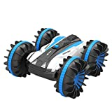 ALLCACA Waterproof Remote Control Car Boat - 2.4Ghz All Terrain RC Cars - 1/18 Scale Double Sides Stunt Vehicle with 360 Degree Spins and Flips
