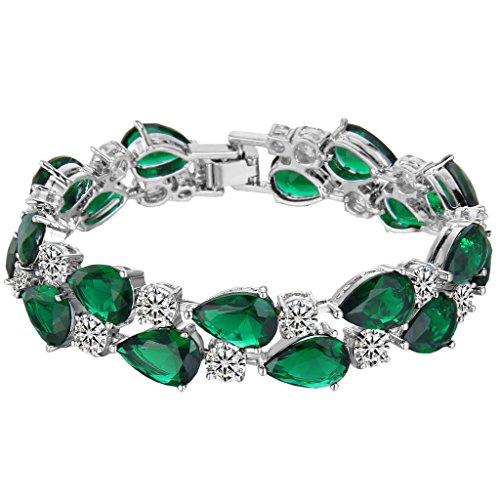 (EVER FAITH Prong Cubic Zirconia Vintage Style Dual Layer Tear Drop Bracelet Emerald-Color Silver-Tone)