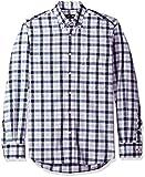 Gitman Blue Men's Plaid Long Sleeve Shirt, Blue/White, S