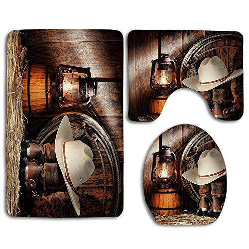NEWcoco 3PCS Toilet Carpet Mats Seat Cushion CoverSilinana Western Set West Rodeo Cowboy Boots and Hat
