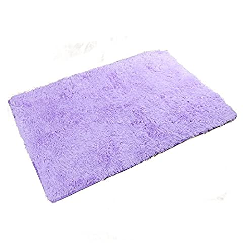 uxcell 4cm Soft Colorful Fluffy Rugs Anti-Skid Shaggy Rug Floor Mat Dining Room Home Bedroom Carpet (Purple (Shaggy Purple Rug)