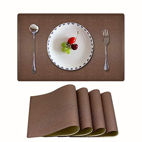 Candumy Home Brown Placemats PU Leather Heat & Stain Resistant for Kitchen Dining Table, Easy to Clean Non-Slip Waterproof Coffee Table Mats Set of 4 (Brown, 17.7