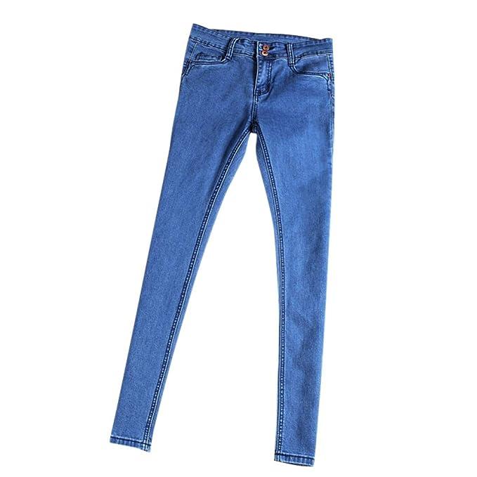 2d98d1715 DAZISEN Push Up Pantalones Azul - Mezclilla Pantalones Flacos Vaqueros  Largos Delgado Oficina Elástico Jeans para