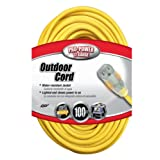Coleman Cable 02589 12/3 100-Foot Vinyl Outdoor Extension Cord with Lighted End