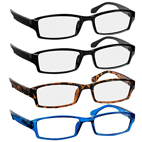 Reading Glasses 1.25 2 Black Tortoise Blue Fashion Readers for Men & Women - Spring Arms & Dura-Tight Screws Have a Stylish Look and Crystal Clear Vision When You Need ()