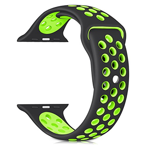 For Apple Watch Nike Band Sports Soft Silicone Replacement Band For Apple Watch Series 3,Series 2,Series 1,Nike +,Sport,Edition,M/L Size (black/green, - Green Black