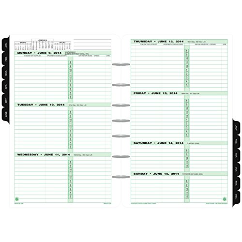 "Day-Timer Refill 2018, Two Page Per Week, January 2018 - December 2018, 5-1/2"" x 8-1/2"", Loose Leaf, Desk Size, Classic (91010-1801)"