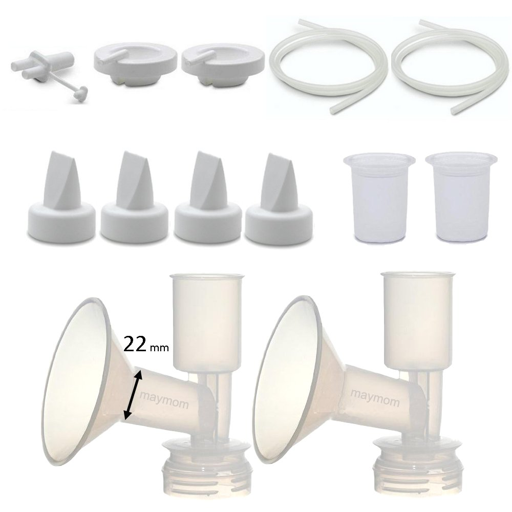 Maymom Pump Parts for Ameda Purely Yours Pumps; Incl. Silicone Membrane, Duckbill, Tubing, Flange; Replaces Ameda Spare Parts Kit (Flange 22 mm)