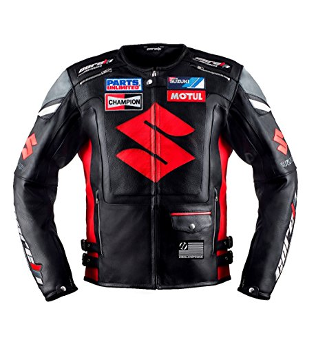 (Suzuki Black Motorcycle Racing Leather Jacket (XL(EU56)) )