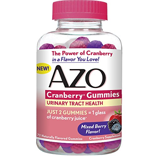 AZO Cranberry Gummies – Urinary Tract Health Dietary Supplement* – Mixed Berry Flavor – Just 2 Gummies Equal One Glass of Cranberry Juice^ – 72 Naturally Flavored Gummies