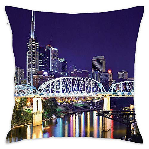 Podas Big Skyline of Downtown Nashville Tennessee Reflection Travel Destination Image Decorative Pillow Case Throw Pillows Covers for Couch/Bed 18 X 18 Inch Home ()