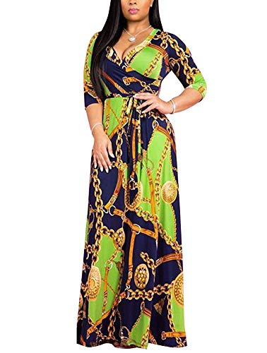 - Women's Wrap Maxi Dresses - Elegant Gold Chain Print Swing Boho Dresses Belted X-Large Green