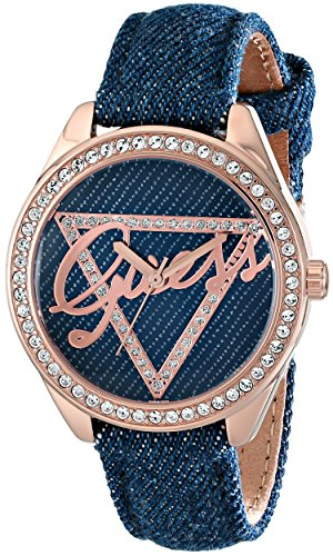 GUESS-Womens-U0456L6-Iconic-Blue-Logo-Watch-with-Blue-Denim-Leather-Strap-Rose-Gold-Tone-Case
