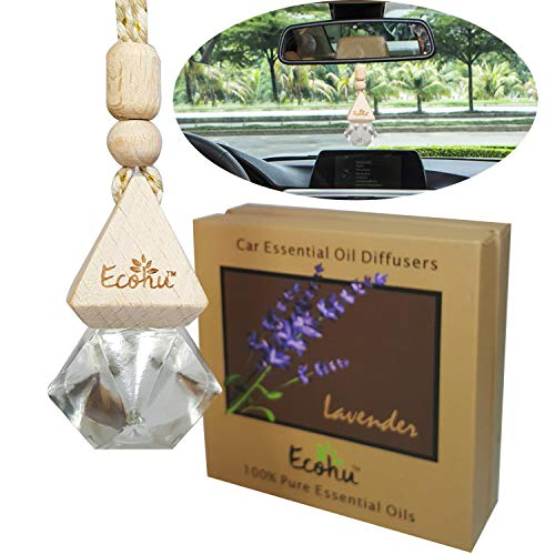 Car essential oil diffuser- Lavender car air freshener- 100% Pure essential oils – Eco friendly,non toxic -Diamond shape bottle - Hang on rear view mirror - reduce stress by Ecohu