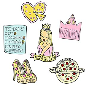 6 Packs Cute Backpack Shirt Enamel Brooch Accessories Sexy Girl Decoration Pins Set (Pizza Queen) 51FwPGVQQ7L