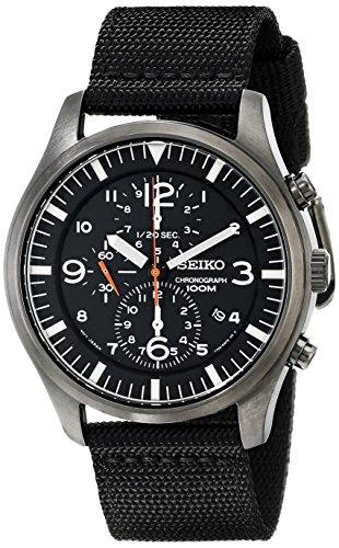 Seiko Mens Chronograph Black Strap - Seiko Men's SNDA65 Stainless Steel Watch with Black Canvas Strap