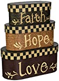 Your Hearts Delight Faith Hope Love Nesting Boxes, 7-1/2 by 3-1/2-Inch