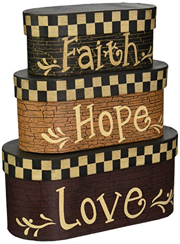 Stacking Boxes Decorative - Your Heart's Delight Faith Hope Love Nesting Boxes, 7-1/2 by 3-1/2-Inch