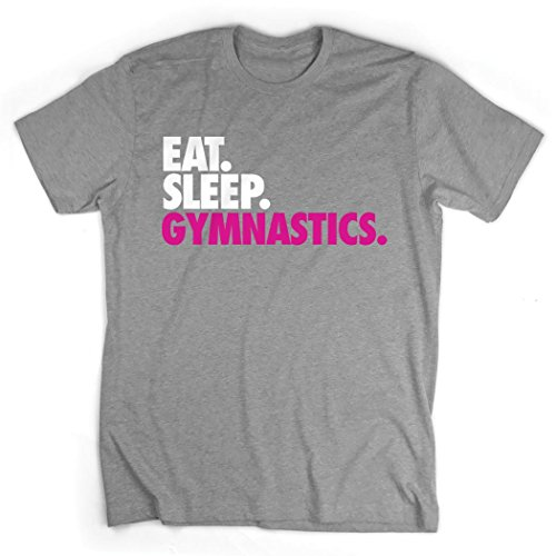 Eat. Sleep. Gymnastics. T-Shirt | Gymnastics Tees by ChalkTalk SPORTS | Gray | Adult Small ()
