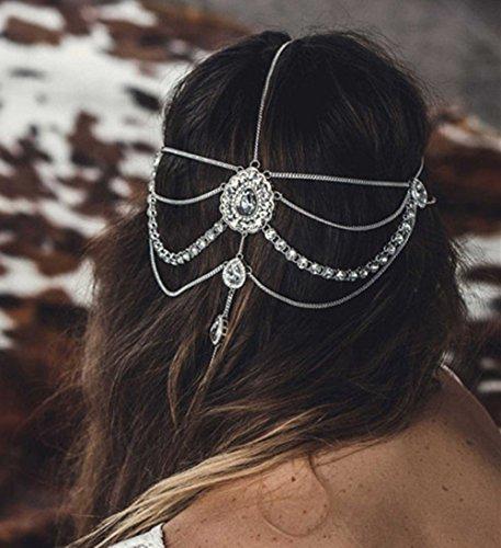 FXmimior Head Chain Bridal Women Vintage Bohemian Crystal Halloween Headpiece Wedding Hair Jewelry (silver) -