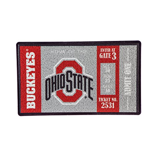(Team Sports America Ohio State University Recyclable PVC Vinyl Indoor/Outdoor Weather-Resistant Team Logo Door Turf Mat)